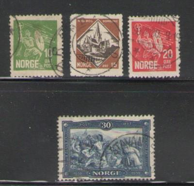 Norway Sc 150-3 1930 Olaf Haraldsson stamps used