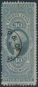 #R52c PERF USED 30¢ INLAND EXCHANGE WITH IMPRINT CAPTURE BS6899