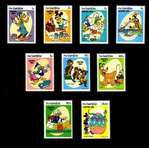 GAMBIA - 1984 - DISNEY - EASTER EGGS - MICKEY - DONALD - MINT - MNH SET OF 9!