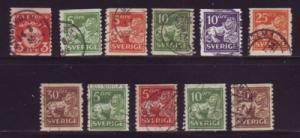 Sweden Sc 115-25 1920 arms & lion coil stamps used