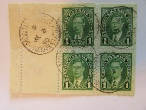 1937 Canada  SC #231a  CDS  KING GEORGE VI  Used booklet pane 1 cent stamps F-VF