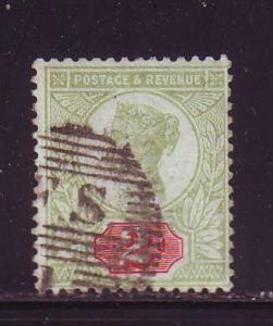 Great Britain Sc 113 1887 2d green & carmine rose Victoria  stamp used