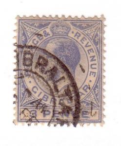 Gibraltar Sc 81  1921 3 d ultra G V stamp used