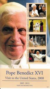Ghana 2013 MNH Papal Retrospective Pope Benedict XVI Visit United States 4v M/S