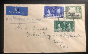 1937 Uplands Kenya KUT First Flight Airmail Cover FFC To Beira Mozambique