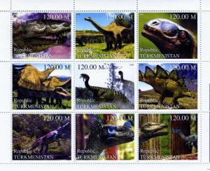 Turkmenistan 2000 Dinosaurs Sheet (9) Perforated mnh.vf