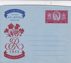 GB 6d 1953 Coronation Air letter/Aerogramme Unused VGC