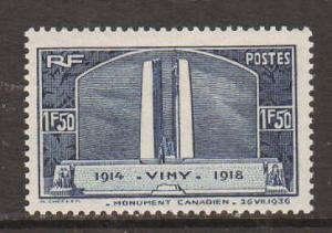 France Sc 312 MLH. 1936 1.50fr Vimy Ridge Monument