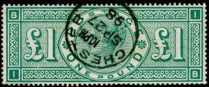 SG212, £1 green, VERY FINE USED, CDS. Cat £800. IB