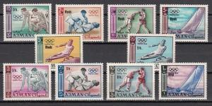Ajman, Mi cat. 126 A-K. Tokyo Olympics Revalued issue. ^