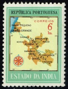 Portuguese India #553 Map of Damao; Unused (0.30)