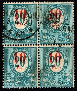 GERMANY Upper Silesia STAMP 1920  Surcharged  USED BLK OF 4