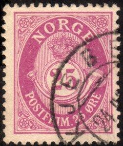 1901, Norway 25ö, Posthorn, Used, Sc 54