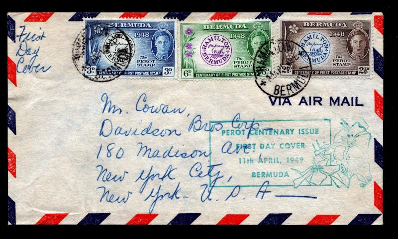 Bermuda First Day Cover With Scott #135 to 137 Perot Cent - 4/11/49 to NYC, USA