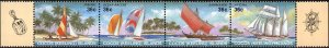 Cocos Islands #158, Complete Set, Strip of 4, 1987, Never Hinged