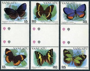 Vanuatu 346-348 gutter,MNH.Michel 644-649. Butterflies,1983.