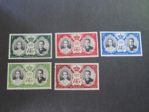 Monaco 1956 Sc 366-70 set MNH
