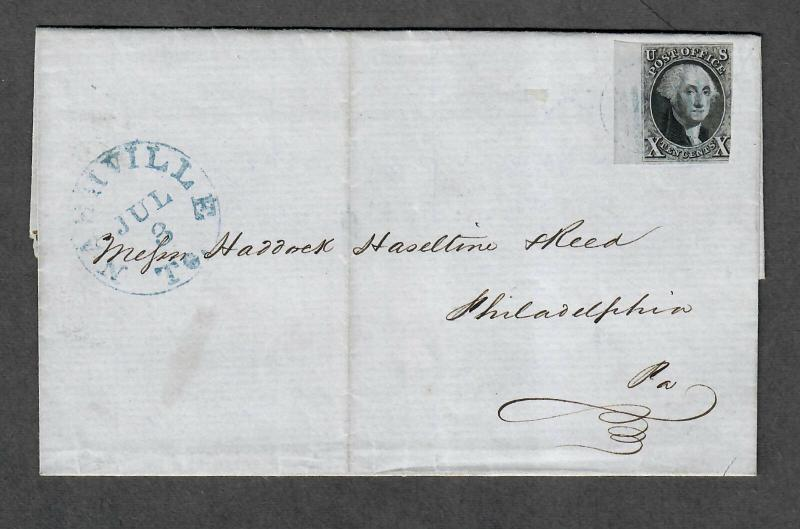 US Sc#2 Margin Copy Blue Nashville Tenn July 3 1850 Cover