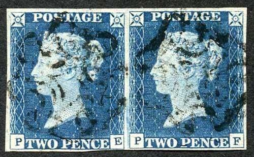 1840 2d Blue (PE/PF) Pair Plate 1 Cancelled with MX Fine Four Margins