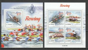 ST533 2015 SIERRA LEONE SPORT ROWING LONDON 2012 OLYMPIC GAMES KB+BL MNH STAMPS