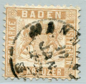 GERMANY BADEN #23a Fine Used Issue - NICE CANCELLATION - COAT OF ARMS - S7812