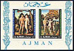 Ajman Michel Block 41A, MNH, Paintings of Adam and Eve souvenir sheet