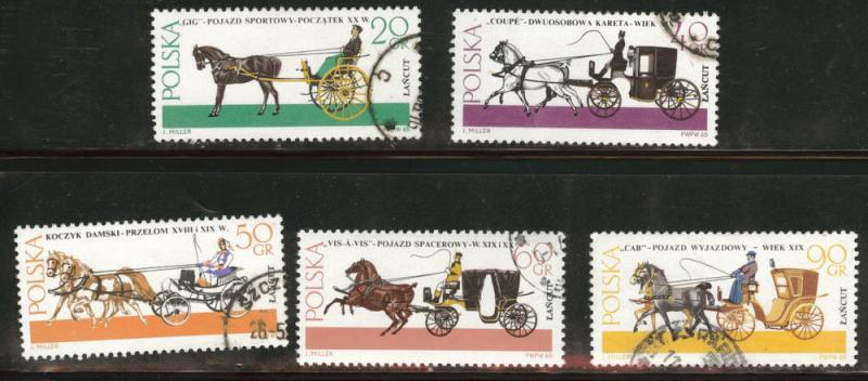 Poland Scott 1378-82 used 1965 coach stamps