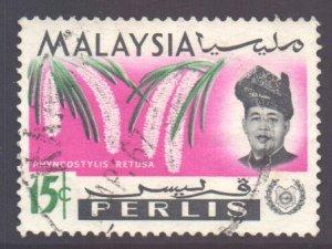 Malaya Perlis Scott 45 - SG46, 1965 Orchids 15c used