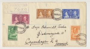 BECHUANALAND TO DENMARK 1938, REG COVER WITH CORONATION SET+GV ½d&4d(SEE BELOW