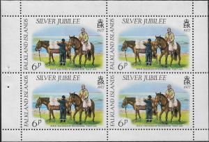 FALKLAND ISLANDS, 254A, MNH, SS, BOOKLET PANE, SILVER JUBILEE