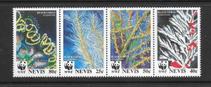 CORAL - NEVIS #860a  BLACK CORAL (2)  WWF   MNH