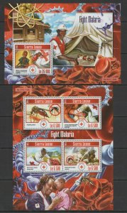 ST607 2015 SIERRA LEONE RED CROSS FIGHT AGAINST MALARIA INSECTS KB+BL MNH