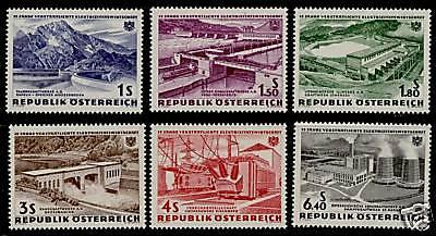 Austria 676-81 MNH Dams, Power Stations, Electricity