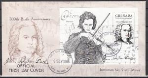 Grenada, Scott cat. 1312-1315. Composer Bach s/sheet. First Day Cover.