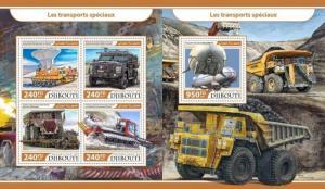 Afrika Z08 Imperf Djb17214ab Djibouti 2017 Special Transport Mnh ** Postfrisch Set