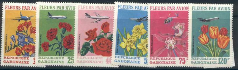 Gabon C109-111 MNH Flowers, Aircraft, Helicopter