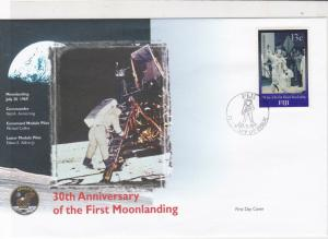 fiji 30th anniversary moon landing stamps cover 1999 ref 19483