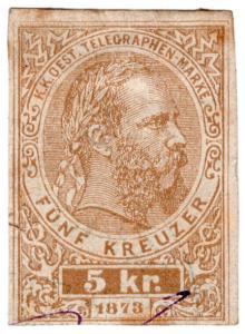 (I.B) Austria Telegraphs : State Telegram 5kr (cut-out)