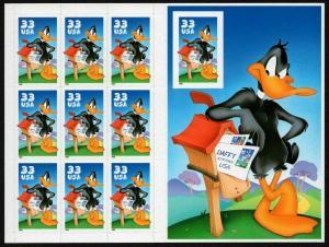 U.S. 33¢ Daffy Duck - Looney Tunes - Sheet of 10 - Scott# 3306