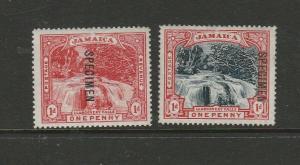 Jamaica 1909 Pair of 1ds, Opt SPECIMEN MM SG 31s/32s