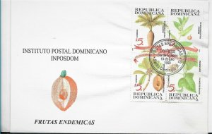 DOMINICAN REPUBLIC 1999, NATIVE FRUITS, PLANTS, BLOCK ON FIRST DAY COVER - FDC