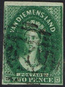 TASMANIA 1855 QV CHALON 2D DEEP GREEN WMK STAR USED
