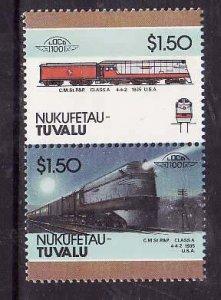 Tuvalu-Nukufetau-Sc#39- id5-unused NH Trains-Locomotives-1985-88-