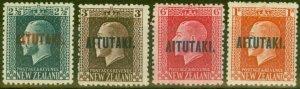 Aitutaki 1917 set of 4 SG15a-18a P.14 x 14.5 Fine Mtd Mint