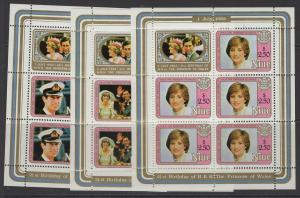 NIUE SG454/6 1982 21st BIRTHDAY OF PRINCESS DIANA SHEETLETS MNH