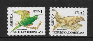 PARROT & IGUANA - DOMINICAN REPUBLIC #1145-6  AMERICA ISSUE   MNH