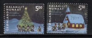 Greenland Sc 420-1 2003 Christmas stamp set used