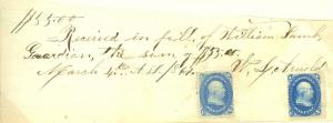 1867 Receipt with (2) #63, Not Cancelled