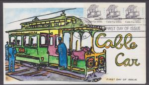 US Sc 2263, PNC 1 FDC. 1988 20c Cable Car, Strip of 3, Colortone Cachet
