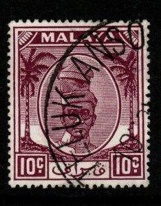 MALAYA PERAK SG136a 1956 10c BROWN-PURPLE FINE USED